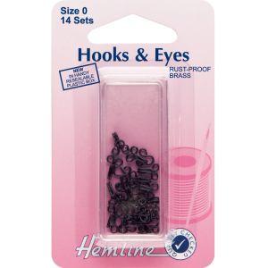 Hemline Hook and Eyes Black Size 0
