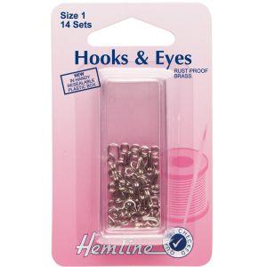 Hemline Hook and Eyes Nickel Size 1