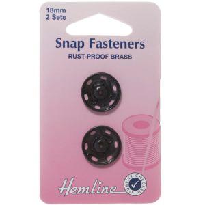 Hemline Sew On Snap Fasteners Black 18mm
