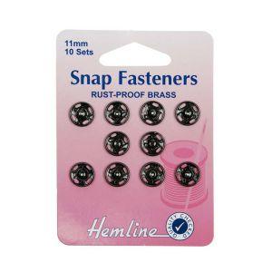 Hemline Sew On Snap Fasteners Black 11mm