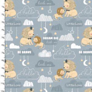 3 Wishes Little Lion Be Brave Cotton Fabric Blue 110cm