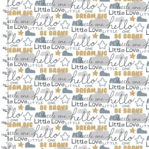 3 Wishes Little Lion Words Cotton Fabric White 110cm