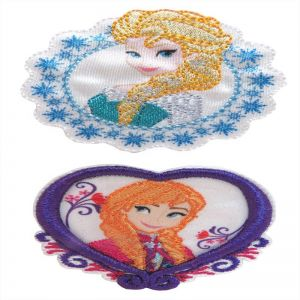 AQ44 Elsa and Anna Iron On Motif 52 x 52 x 2mm and 53 x 53 x 2mm