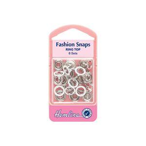 Hemline Fashion Snaps Ring Top White 11mm