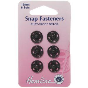 Hemline Sew On Snap Fasteners Black 13mm