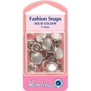 Hemline Fashion Snaps Solid Top Pearl 11mm
