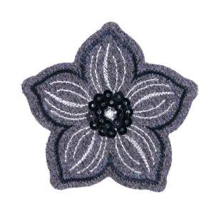 Grey Sequin Flower Motif Code A 6.2 x 6.6cm