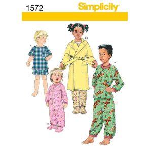 Simplicity Sewing Pattern Childrens Sleepwear/1572.BB/Age 3-6