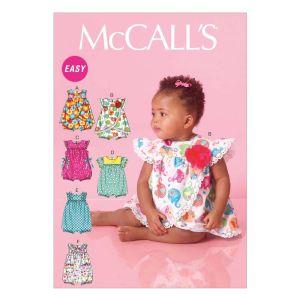 McCall's Sewing Pattern Babies Romper M7107 New Born - XL