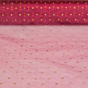 Glitter Dot Organza Net Burgundy Gold 85cm