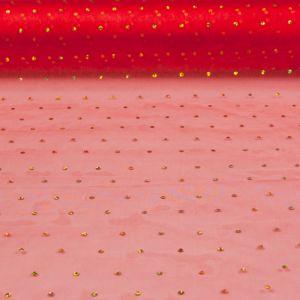 Glitter Dot Organza Net Red Gold 85cm