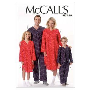 McCall's Sewing Pattern Misses' Mens Boys Girls Top Nightshirt Pants M7299 3-12