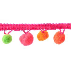 Pom Pom Fringe Pink Yellow 0800 25mm