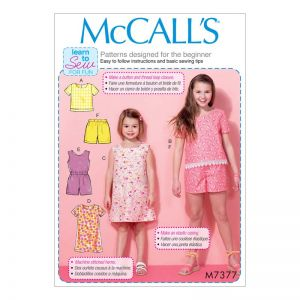 McCall's Sewing Pattern Girls Casual//M7377. CHJ//Age 7-14 M7377. CHJ Age 7-14