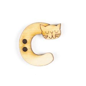 Trimits Wooden Alphabet Button C Natural 22mm