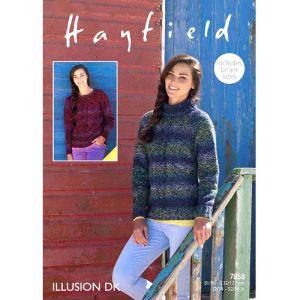 """Hayfield Illusion Women's Round & Polar Neck Jumper Pattern 7858 32-54"""""""