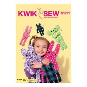 Kwik Sew Sewing Pattern Animal Themed Plush Toys/K4204/One Size