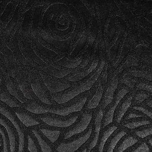 Rose Embossed Spandex Knit Fabric   Black 145cm