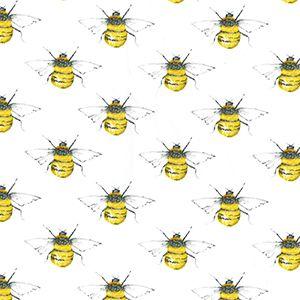 Bees Cotton Poplin Print Fabric Ivory 112cm