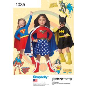 Simplicity Sewing Pattern Childs WonderWoman Supergirl Batgirl Costume Age3-8