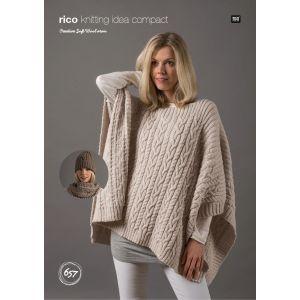 Rico Creative Soft Wool Aran Hat and Snood Pattern KIC 657