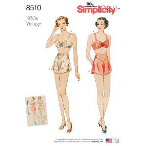 Simplicity Sewing Pattern Miss Vintage Brassiere and Panties 4-12