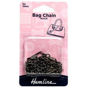 Hemline Bag Chain Black Nickel 120cm