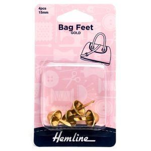 Hemline Bag Feet Gold 15mm