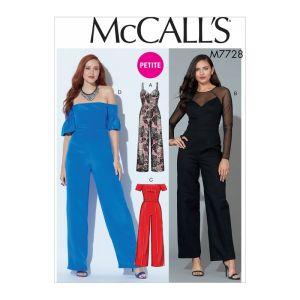 McCalls Sewing Pattern Misses Miss Petite Jampsuits M7728 14-22