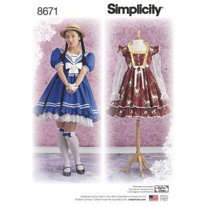 Simplicity Sewing Pattern Women's Lolita Costume Dresses 8671D5 4-12