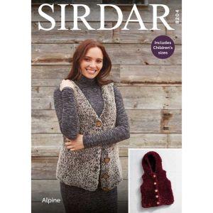 Sirdar Alpine V Neck Hooded Gillet Pattern 8204 61-66 to 112-117cm