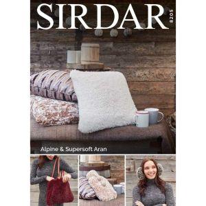 Sirdar Alpine Big Ear Muffs Hot Water Bottle and Cushion Pattern 8205 One Size