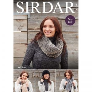 Sirdar Alpine Pull On Hat Scarf Snood and Tippet Pattern 8206 One Size