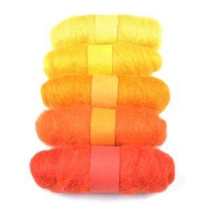 Felting Fibre Wool Asstd 20g 5 Rolls Yellows 100g
