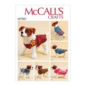 McCalls Sewing Pattern Dog Coats M7881A XS-XL