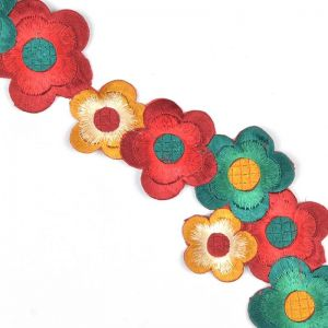 Iron On Block Flower Trim 26 13n 143 Red Green Gold Mix 6cm