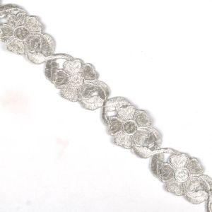 Iron On Metallic Flower Trim Silver 3.5cm