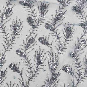 Peacock Glitter Sequin Mesh Fabric 4 Gunmetal 145cm