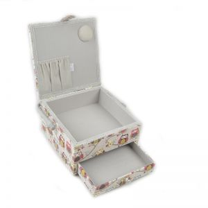 Large Square Sewing Box with Drawer Hoot Multi 25 x 22 x 14.5cm