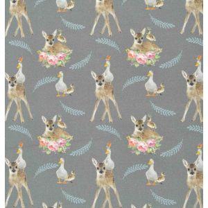 Deer Digital Print Jersey Fabric 10 Grey 150cm