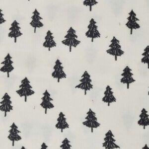 Fir Tree Print Cord Fabric 20 Ivory Black 150cm