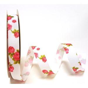 Berties Bows 3 metre Reel of Ribbon Rose Print White 16mm