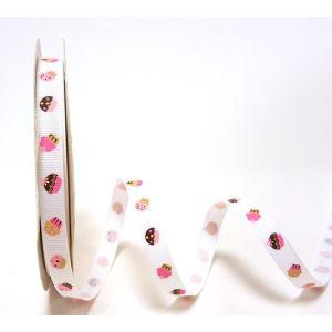 Berties Bows 3 metre Reel of Ribbon Cupcakes White 16mm