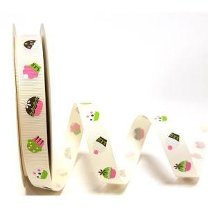 Berties Bows 3 metre Reel of Ribbon Cupcakes Ivory 16mm