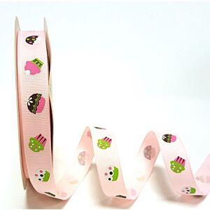 Berties Bows 3 metre Reel of Ribbon Cupcakes Pink 16mm