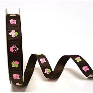 Berties Bows 3 metre Reel of Ribbon Cupcakes Brown 16mm
