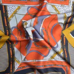 Italian Made Grandiose Double Weave Viscose Print Fabric Orange Mustard 150cm