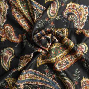 Italian Made Classico Double Weave Viscose Print Fabric Black 150cm