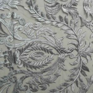 Regal Embroidered Mesh Fabric Silver 130cm