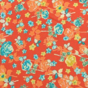 Roses Print Javanaise Viscose Fabric 35 Orange 150cm